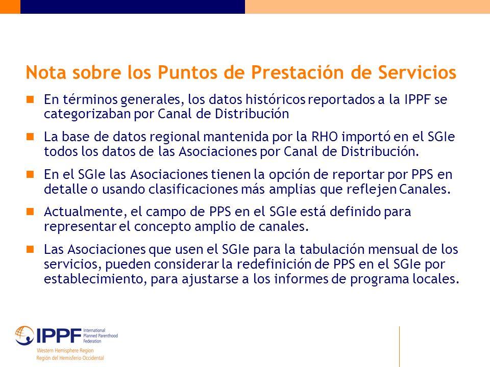 Nota sobre los Puntos de Prestación de Servicios En términos generales, los datos históricos reportados a la IPPF se categorizaban por Canal de Distribución La base de datos regional mantenida por la RHO importó en el SGIe todos los datos de las Asociaciones por Canal de Distribución.