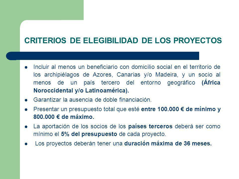 CRITERIOS DE ELEGIBILIDAD DE LOS PROYECTOS Incluir al menos un beneficiario con domicilio social en el territorio de los archipiélagos de Azores, Canarias y/o Madeira, y un socio al menos de un país tercero del entorno geográfico (África Noroccidental y/o Latinoamérica).