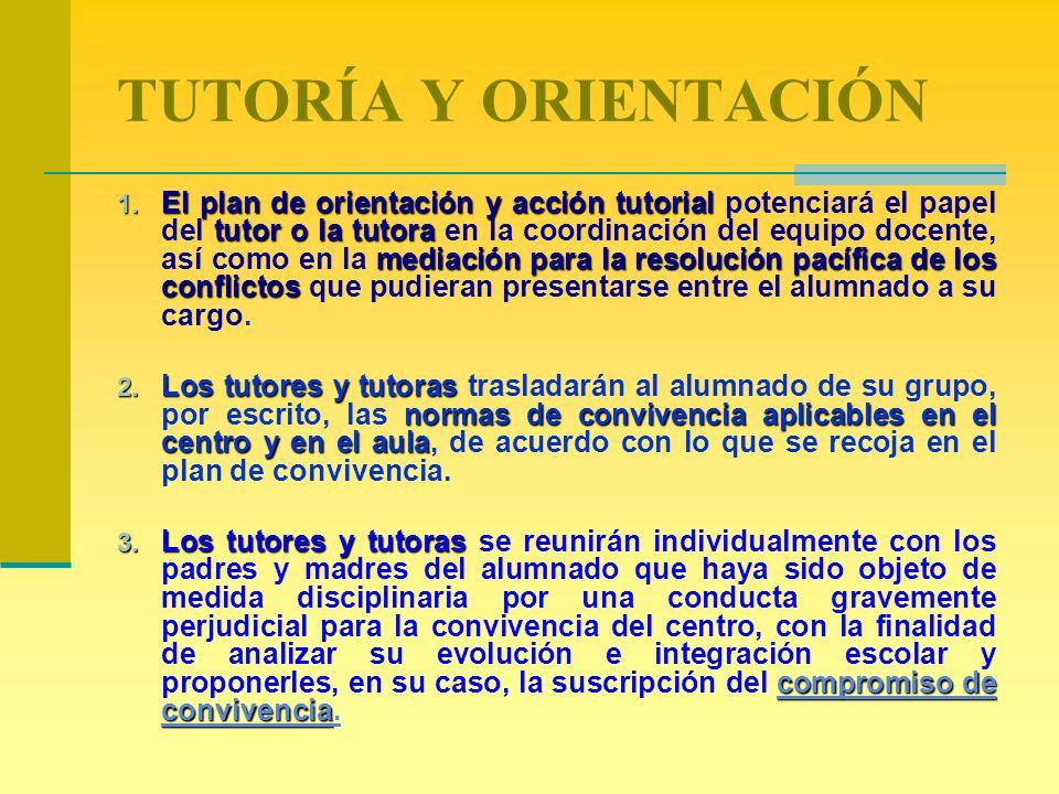 TUTORÍA Y ORIENTACIÓN 1. El plan de orientación y acción tutorial tutor o la tutora mediación para la resolución pacífica de los conflictos 1. El plan