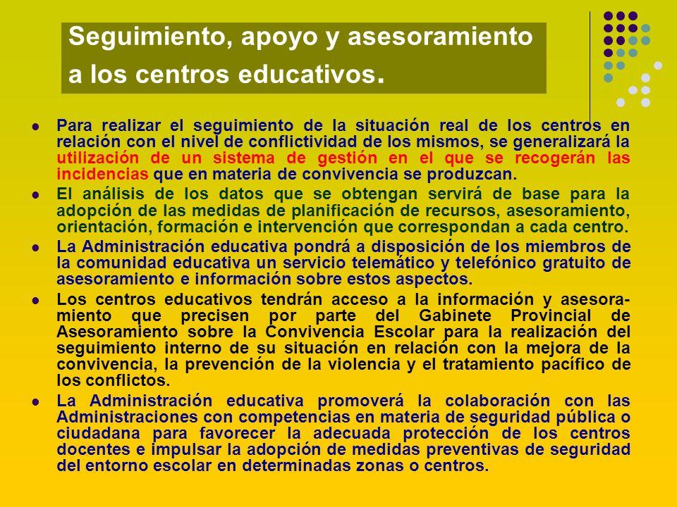 Seguimiento, apoyo y asesoramiento a los centros educativos. Para realizar el seguimiento de la situación real de los centros en relación con el nivel