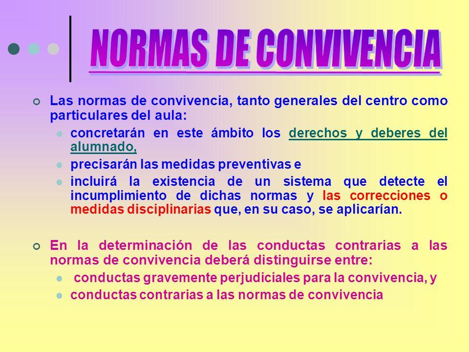 Las normas de convivencia, tanto generales del centro como particulares del aula: concretarán en este ámbito los derechos y deberes del alumnado,derec