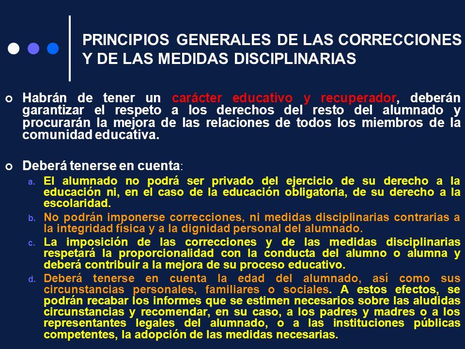 PRINCIPIOS GENERALES DE LAS CORRECCIONES Y DE LAS MEDIDAS DISCIPLINARIAS Habrán de tener un carácter educativo y recuperador, deberán garantizar el re