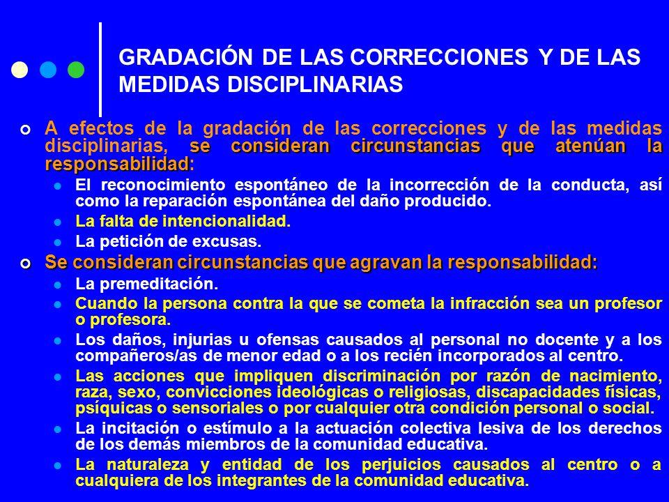 GRADACIÓN DE LAS CORRECCIONES Y DE LAS MEDIDAS DISCIPLINARIAS se consideran circunstancias que atenúan la responsabilidad A efectos de la gradación de