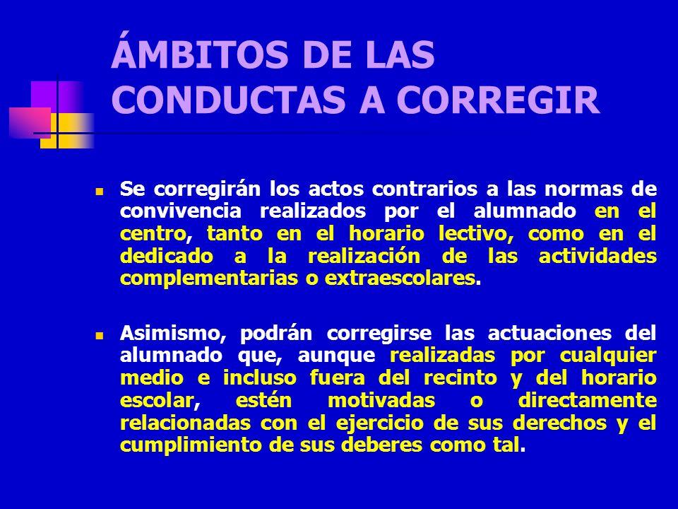ÁMBITOS DE LAS CONDUCTAS A CORREGIR Se corregirán los actos contrarios a las normas de convivencia realizados por el alumnado en el centro, tanto en e