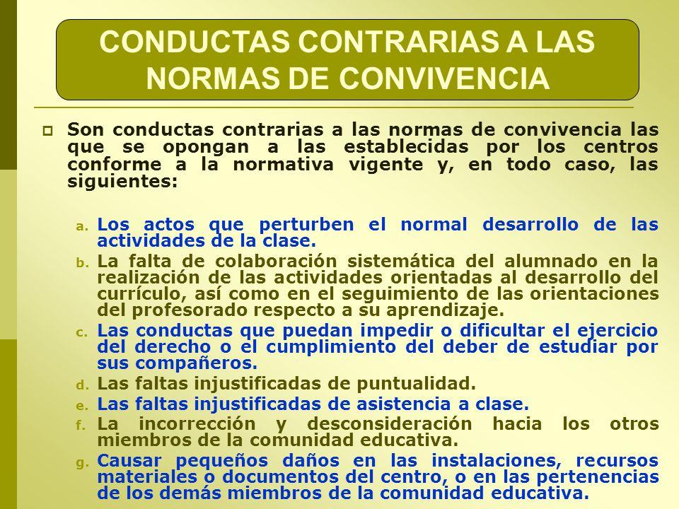 CONDUCTAS CONTRARIAS A LAS NORMAS DE CONVIVENCIA Son conductas contrarias a las normas de convivencia las que se opongan a las establecidas por los ce