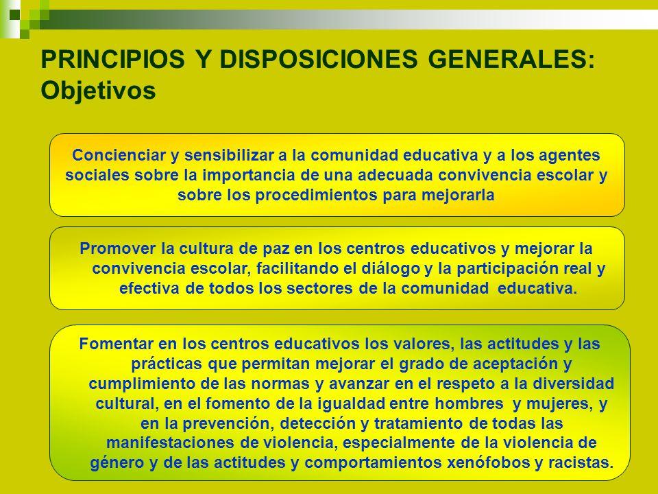 PRINCIPIOS Y DISPOSICIONES GENERALES: Objetivos Concienciar y sensibilizar a la comunidad educativa y a los agentes sociales sobre la importancia de u