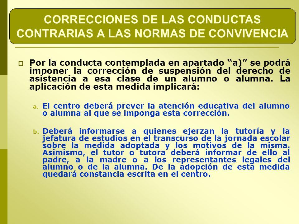 CORRECCIONES DE LAS CONDUCTAS CONTRARIAS A LAS NORMAS DE CONVIVENCIA Por la conducta contemplada en apartado a) se podrá imponer la corrección de susp