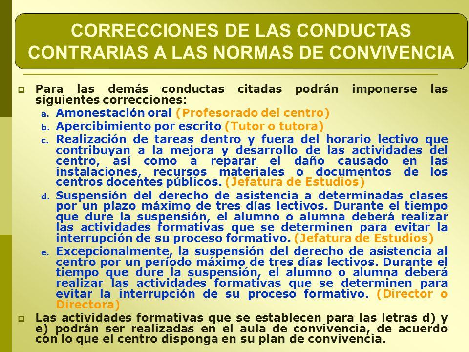 CORRECCIONES DE LAS CONDUCTAS CONTRARIAS A LAS NORMAS DE CONVIVENCIA Para las demás conductas citadas podrán imponerse las siguientes correcciones: a.