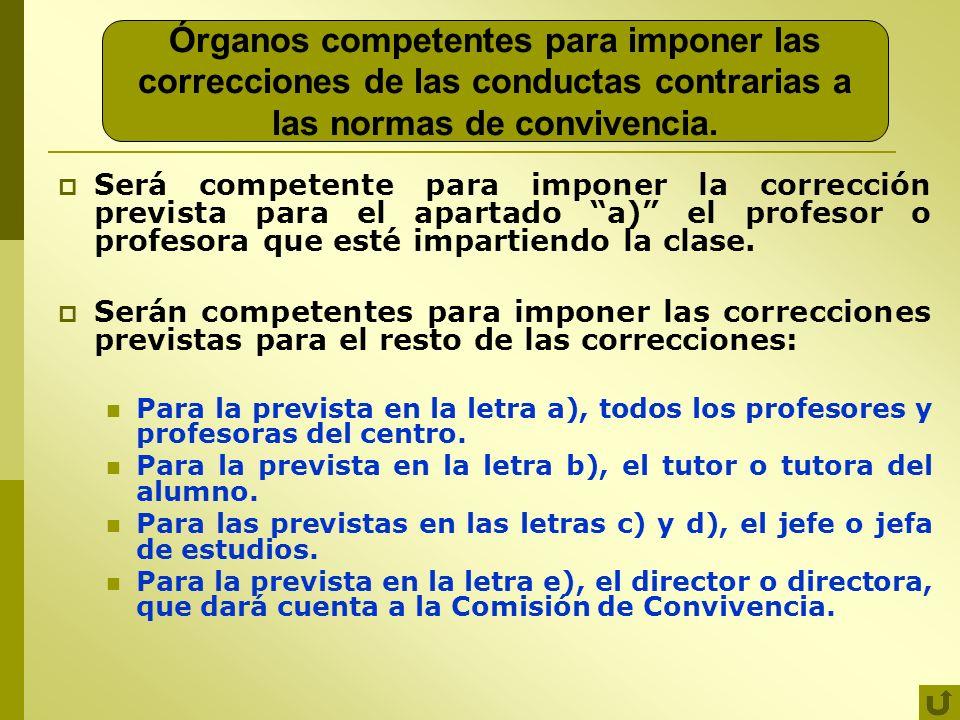 Órganos competentes para imponer las correcciones de las conductas contrarias a las normas de convivencia. Será competente para imponer la corrección