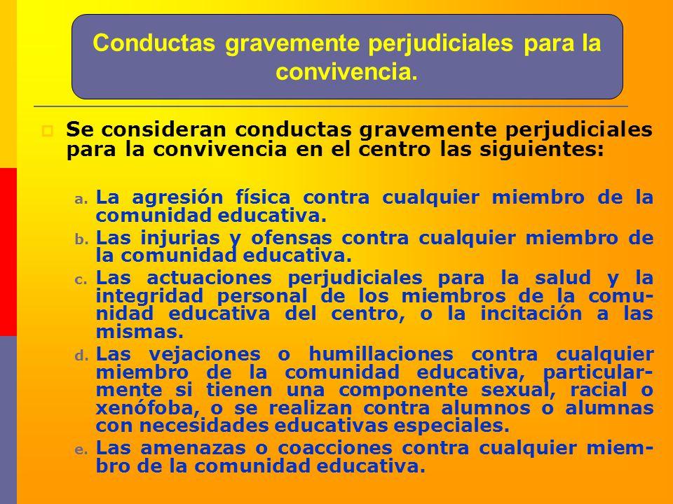Conductas gravemente perjudiciales para la convivencia. Se consideran conductas gravemente perjudiciales para la convivencia en el centro las siguient