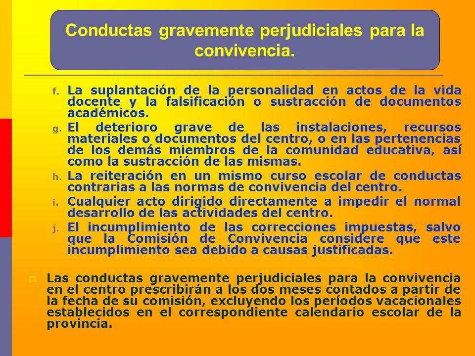 Conductas gravemente perjudiciales para la convivencia. f. La suplantación de la personalidad en actos de la vida docente y la falsificación o sustrac