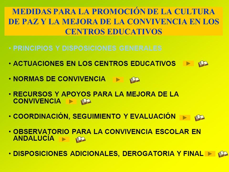 MEDIDAS PARA LA PROMOCIÓN DE LA CULTURA DE PAZ Y LA MEJORA DE LA CONVIVENCIA EN LOS CENTROS EDUCATIVOS PRINCIPIOS Y DISPOSICIONES GENERALES ACTUACIONE