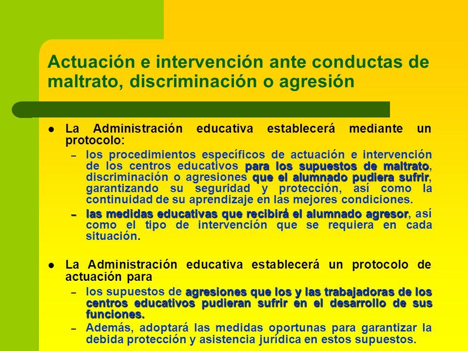 Actuación e intervención ante conductas de maltrato, discriminación o agresión La Administración educativa establecerá mediante un protocolo: para los