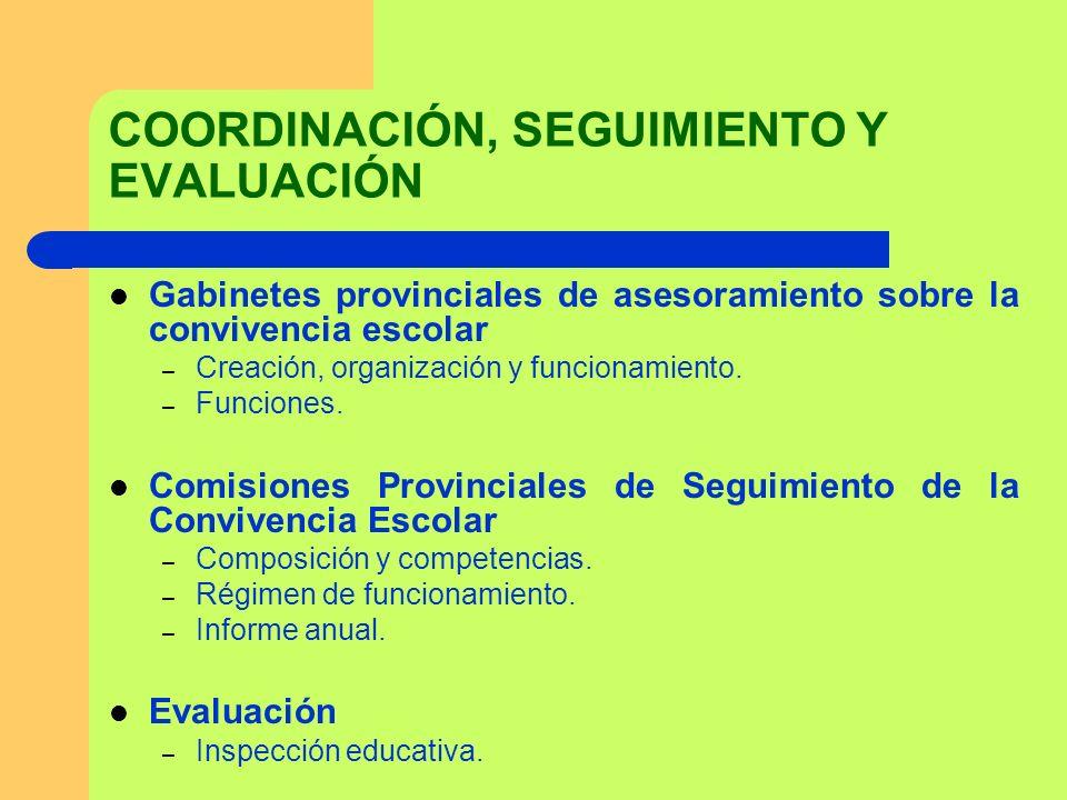 COORDINACIÓN, SEGUIMIENTO Y EVALUACIÓN Gabinetes provinciales de asesoramiento sobre la convivencia escolar – Creación, organización y funcionamiento.