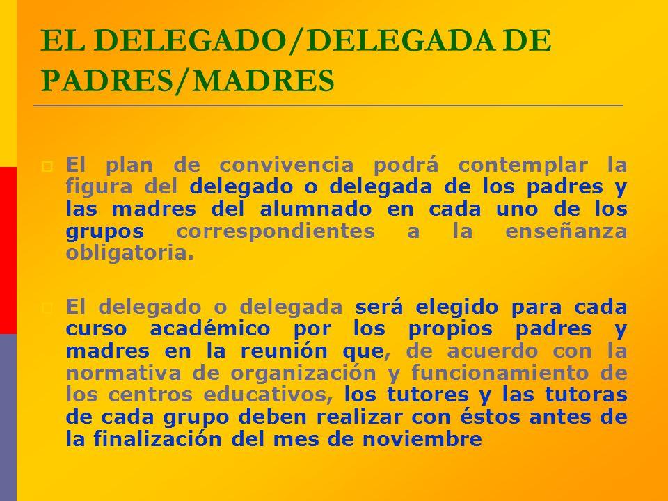 EL DELEGADO/DELEGADA DE PADRES/MADRES El plan de convivencia podrá contemplar la figura del delegado o delegada de los padres y las madres del alumnad