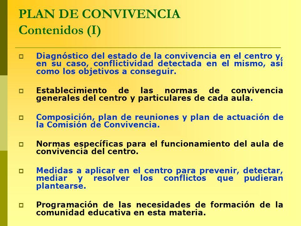 PLAN DE CONVIVENCIA Contenidos (I) Diagnóstico del estado de la convivencia en el centro y, en su caso, conflictividad detectada en el mismo, así como