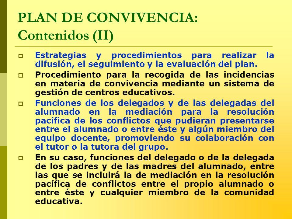 PLAN DE CONVIVENCIA: Contenidos (II) Estrategias y procedimientos para realizar la difusión, el seguimiento y la evaluación del plan. Procedimiento pa