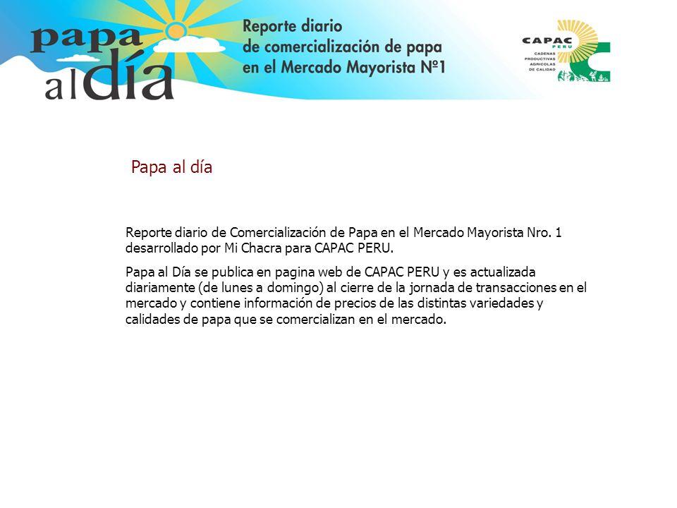 Reporte diario de Comercialización de Papa en el Mercado Mayorista Nro. 1 desarrollado por Mi Chacra para CAPAC PERU. Papa al Día se publica en pagina