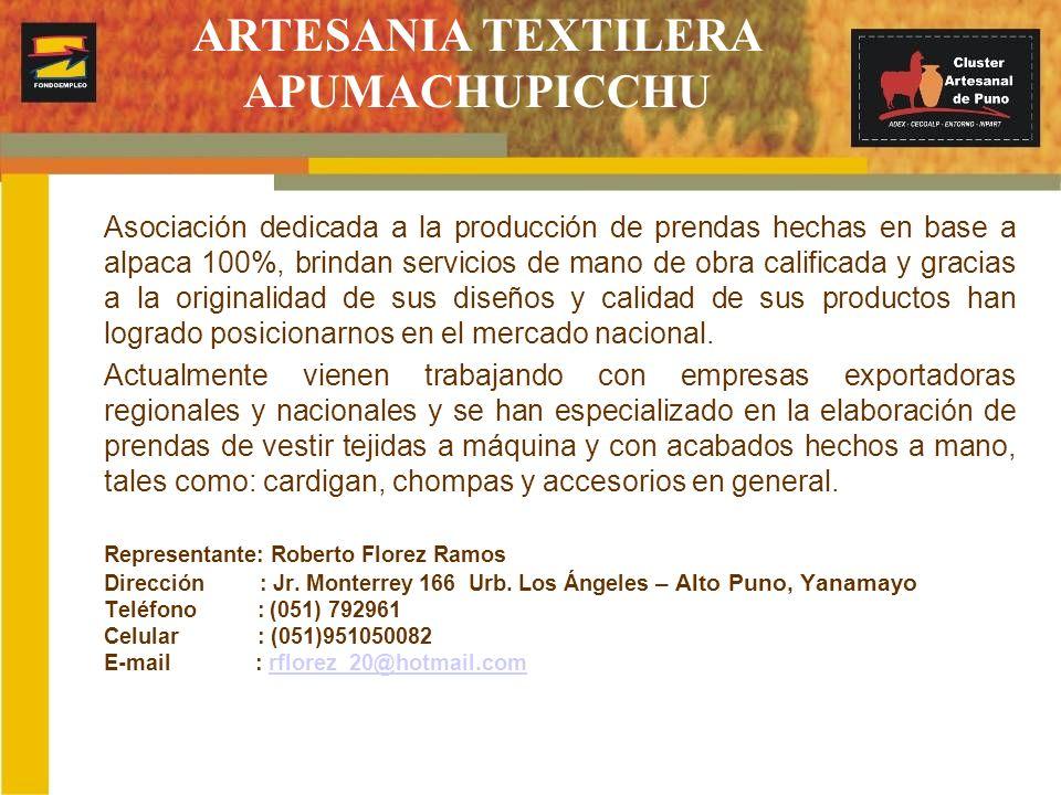 CREACIONES ANDES FASHION SCRL Es una empresa que cuenta con 30 artesanas textiles, quienes elaboran prendas hechas a mano y telar a pedal con hilo rústico de alpaca 100% y alpaca procesada 100%.