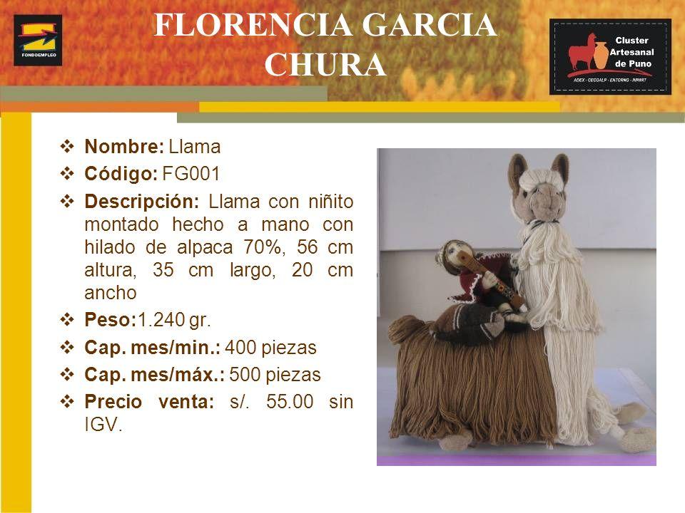 FLORENCIA GARCIA CHURA Nombre: Llama Código: FG001 Descripción: Llama con niñito montado hecho a mano con hilado de alpaca 70%, 56 cm altura, 35 cm la