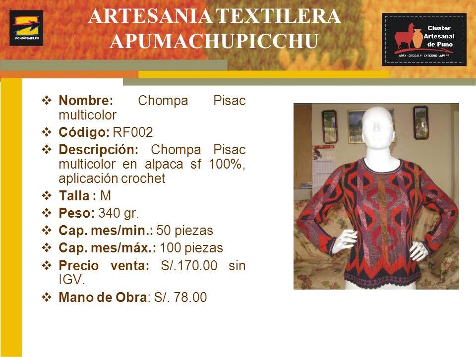 Nombre: Cardigan Código: RF003 Descripción: Cardigan chinchero multicolor en alpaca FS 100%, aplicación con crochet Talla : M Peso: 370 gr.