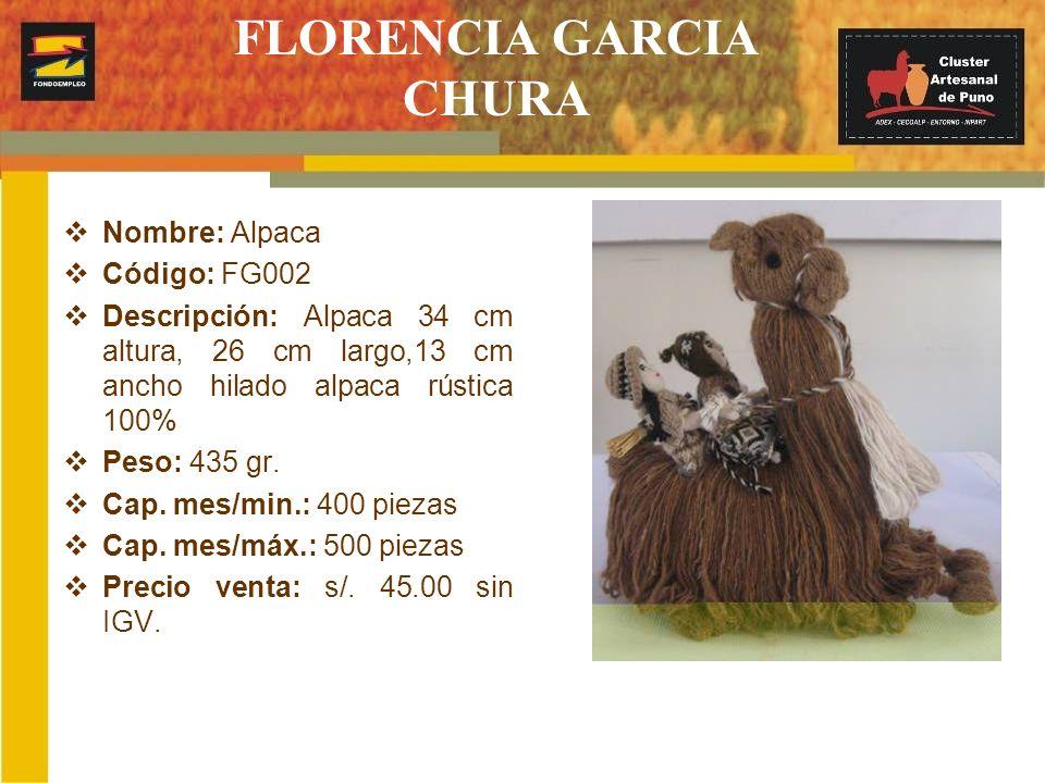FLORENCIA GARCIA CHURA Nombre: Alpaca Código: FG002 Descripción: Alpaca 34 cm altura, 26 cm largo,13 cm ancho hilado alpaca rústica 100% Peso: 435 gr.