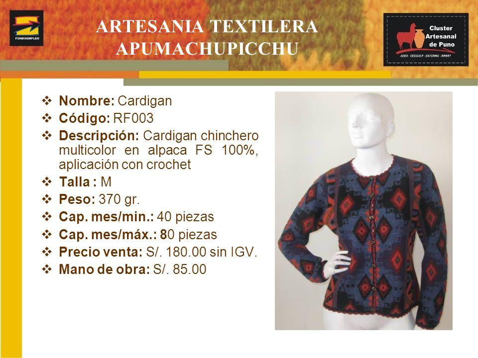 Nombre: Cardigan Código: RF003 Descripción: Cardigan chinchero multicolor en alpaca FS 100%, aplicación con crochet Talla : M Peso: 370 gr. Cap. mes/m