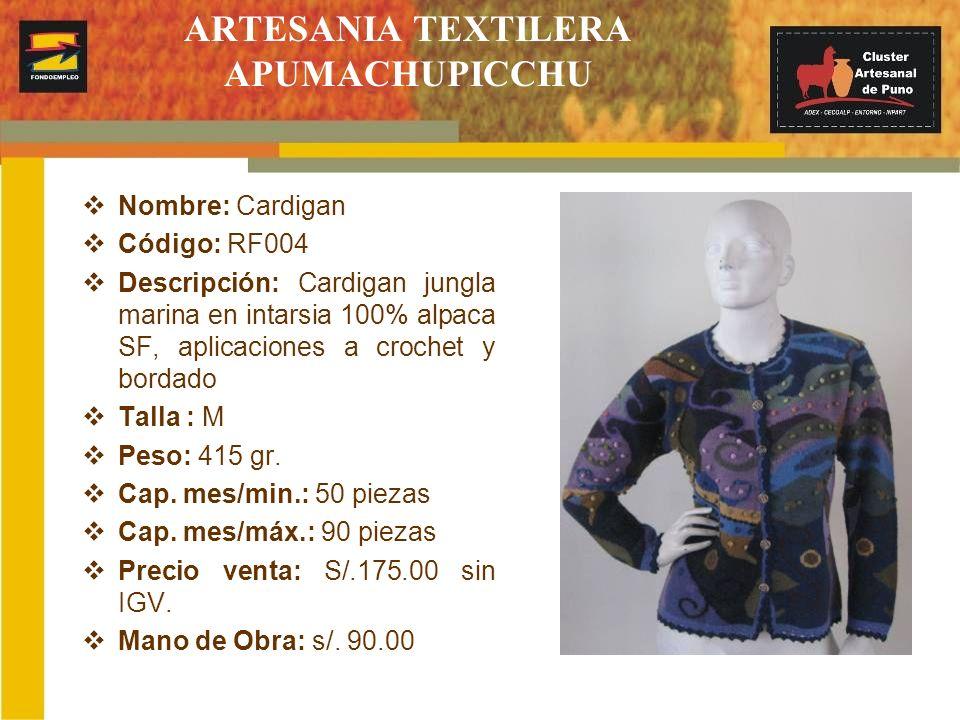 ARTESANIA TEXTILERA APUMACHUPICCHU Nombre: Cardigan Código: RF004 Descripción: Cardigan jungla marina en intarsia 100% alpaca SF, aplicaciones a croch