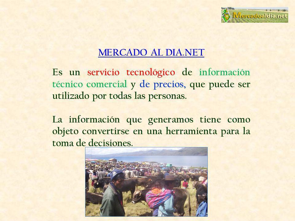 MERCADO AL DIA.NET Es un servicio tecnológico de información técnico comercial y de precios, que puede ser utilizado por todas las personas. La inform