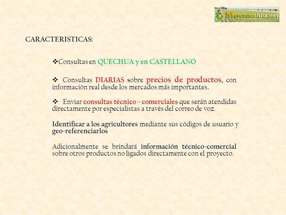 CARACTERISTICAS: Consultas en QUECHUA y en CASTELLANO Consultas DIARIAS s obre precios de productos, con información real desde los mercados más importantes.