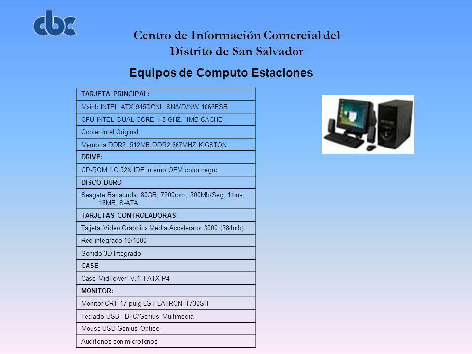 Centro de Información Comercial del Distrito de San Salvador Equipos de Computo Estaciones TARJETA PRINCIPAL: Mainb INTEL ATX 945GCNL SN/VD/NW 1066FSB