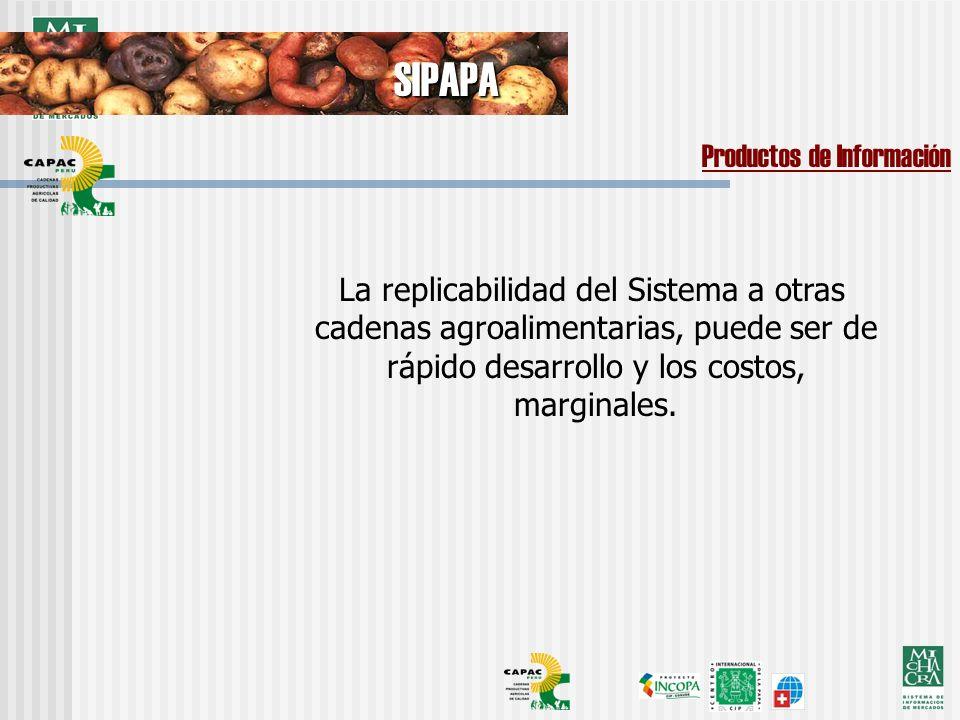 La replicabilidad del Sistema a otras cadenas agroalimentarias, puede ser de rápido desarrollo y los costos, marginales.