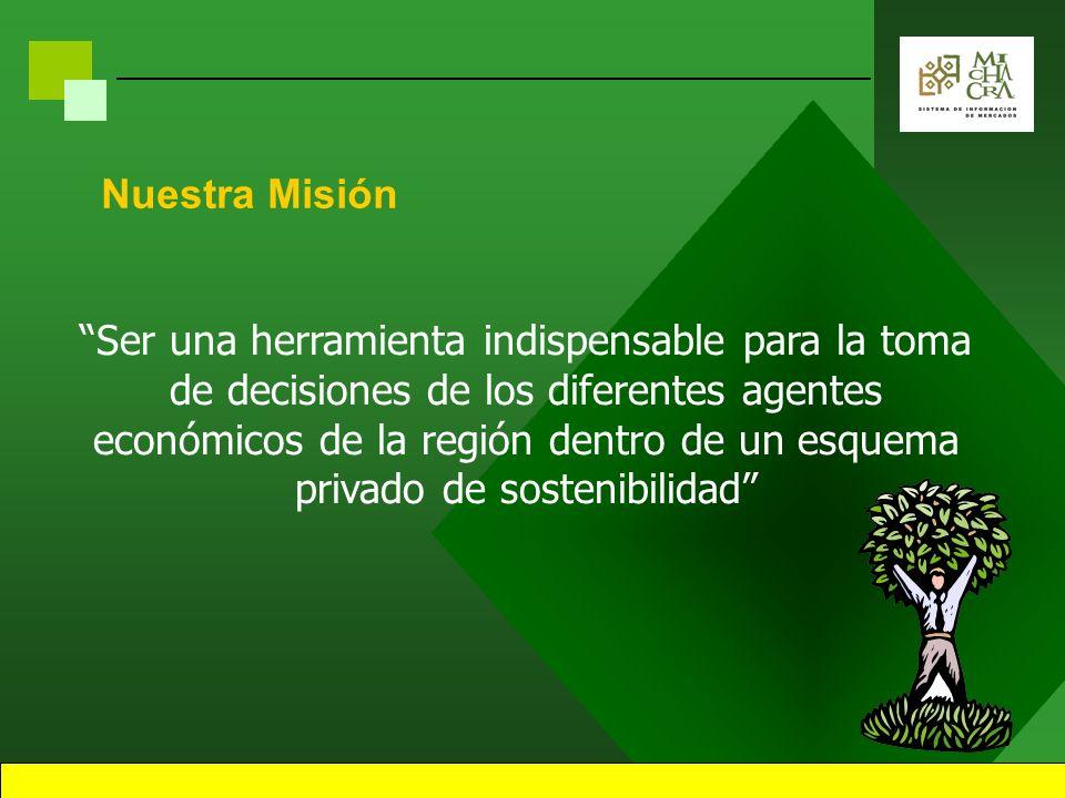 Nuestra Misión Ser una herramienta indispensable para la toma de decisiones de los diferentes agentes económicos de la región dentro de un esquema privado de sostenibilidad