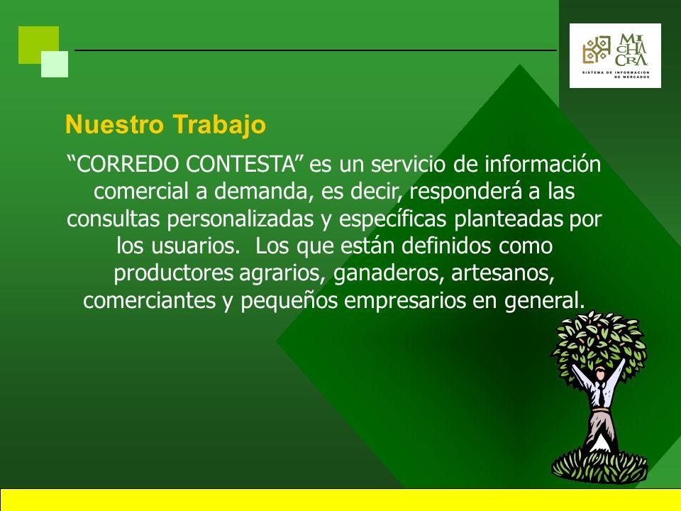 CORREDO CONTESTA es un servicio de información comercial a demanda, es decir, responderá a las consultas personalizadas y específicas planteadas por los usuarios.