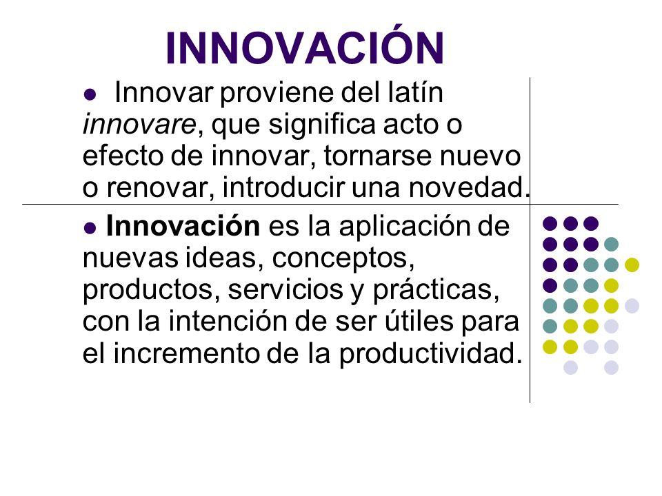 INNOVACIÓN Innovar proviene del latín innovare, que significa acto o efecto de innovar, tornarse nuevo o renovar, introducir una novedad. Innovación e