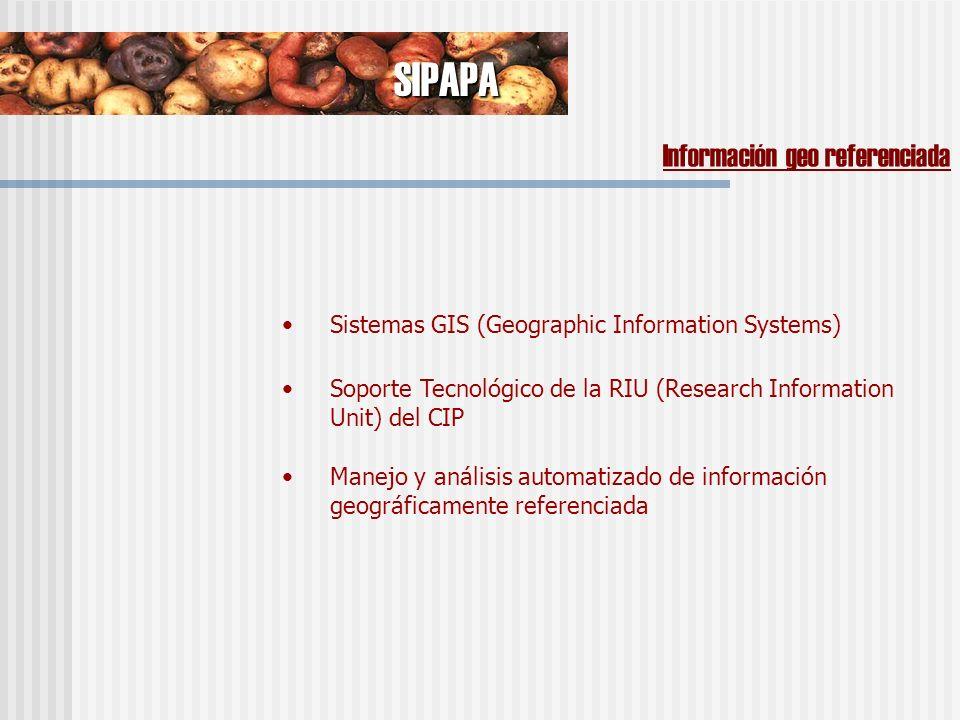 Manejo y análisis automatizado de información geográficamente referenciada SIPAPA Información geo referenciada Sistemas GIS (Geographic Information Systems) Soporte Tecnológico de la RIU (Research Information Unit) del CIP