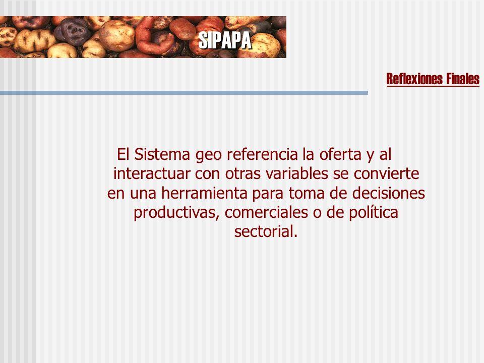 El Sistema geo referencia la oferta y al interactuar con otras variables se convierte en una herramienta para toma de decisiones productivas, comerciales o de política sectorial.