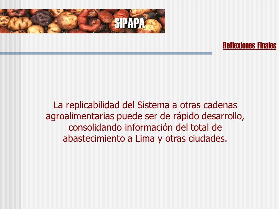 SIPAPA Reflexiones Finales La replicabilidad del Sistema a otras cadenas agroalimentarias puede ser de rápido desarrollo, consolidando información del total de abastecimiento a Lima y otras ciudades.
