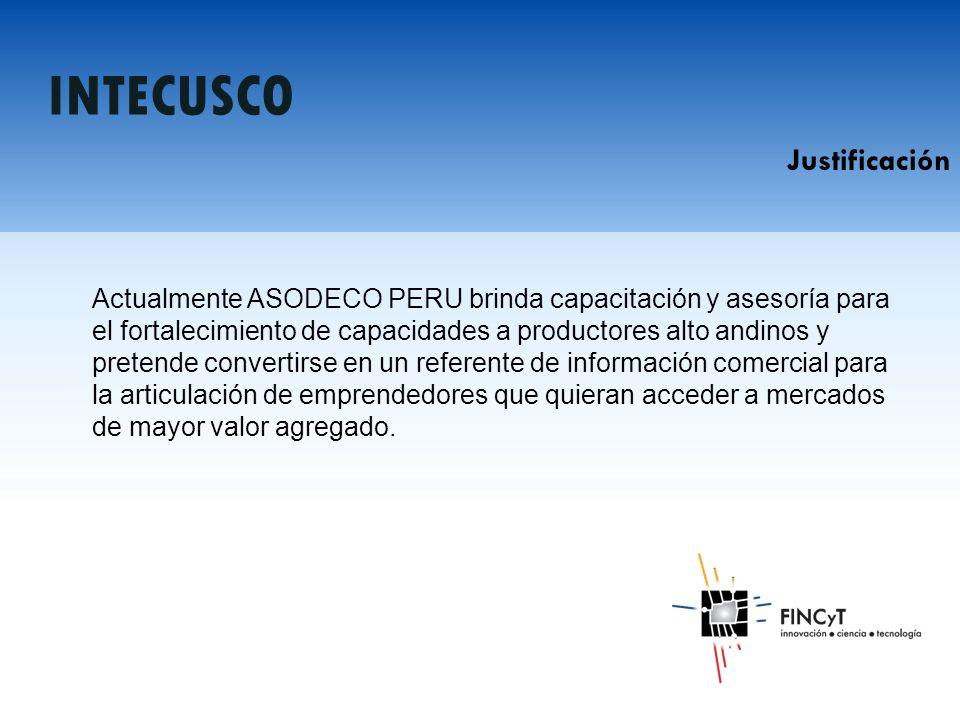 Actualmente ASODECO PERU brinda capacitación y asesoría para el fortalecimiento de capacidades a productores alto andinos y pretende convertirse en un referente de información comercial para la articulación de emprendedores que quieran acceder a mercados de mayor valor agregado.
