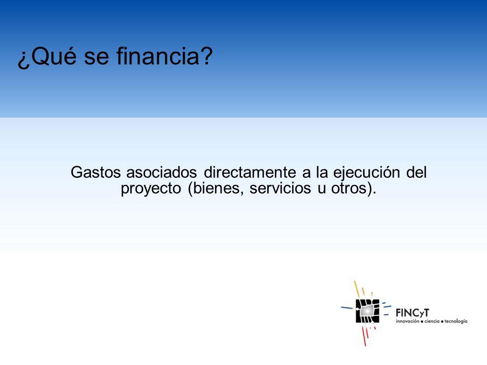 Gastos asociados directamente a la ejecución del proyecto (bienes, servicios u otros).