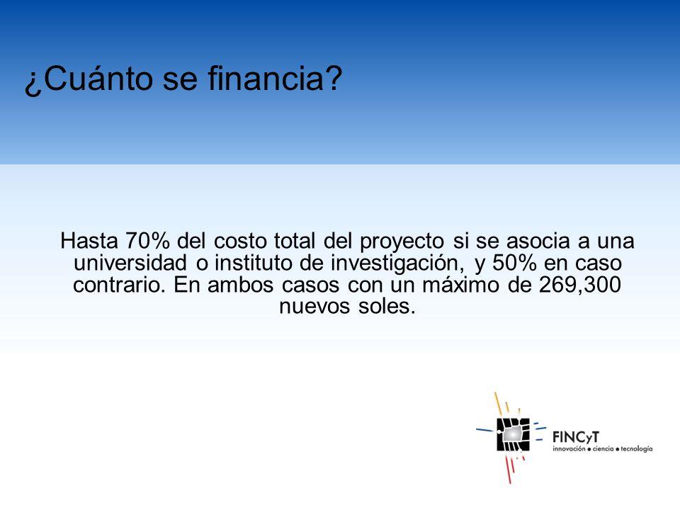 Hasta 70% del costo total del proyecto si se asocia a una universidad o instituto de investigación, y 50% en caso contrario.