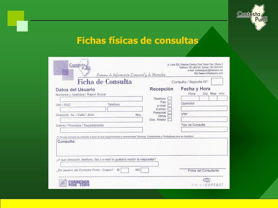 33 Mecánica de Captación Utilizando herramientas de captacion: –Fichas de consultas () –Fax, telefono. –Email, Pag. Web Previo citación y visitas a in