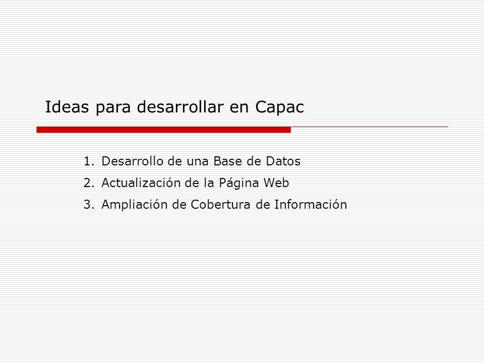 Ideas para desarrollar en Capac 1.Desarrollo de una Base de Datos 2.Actualización de la Página Web 3.Ampliación de Cobertura de Información