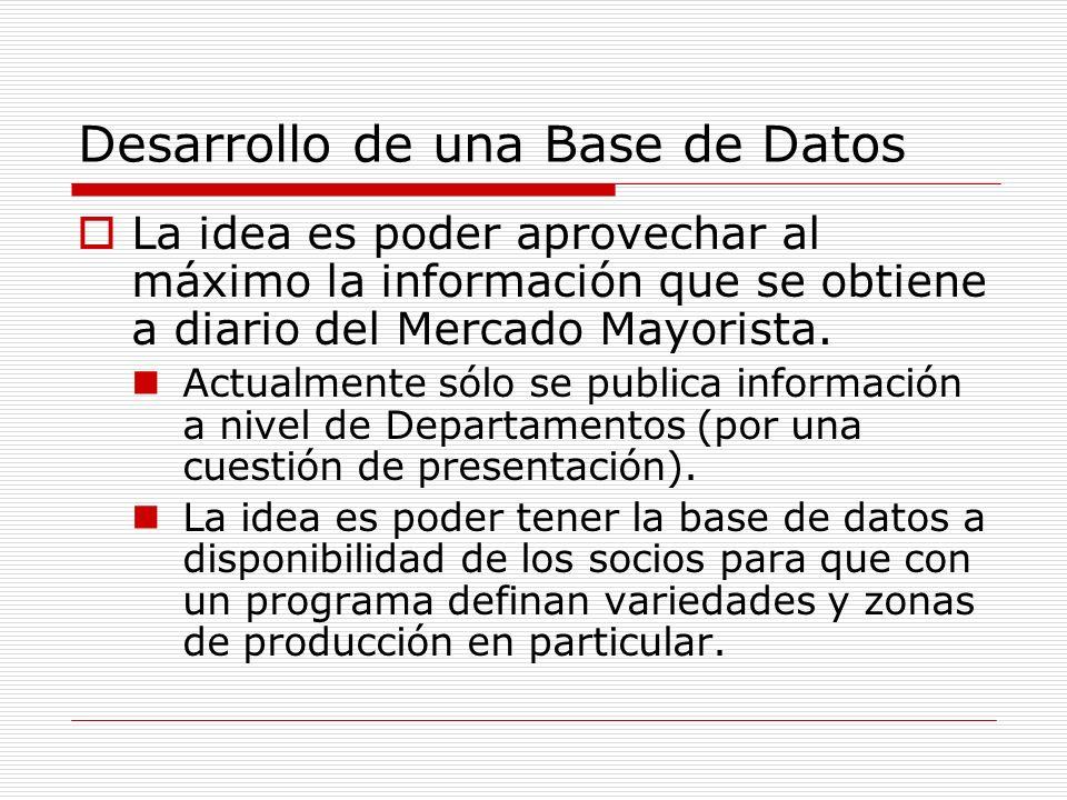 Desarrollo de una Base de Datos La idea es poder aprovechar al máximo la información que se obtiene a diario del Mercado Mayorista.