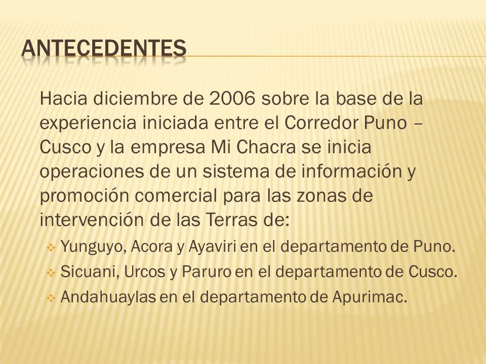 Hacia diciembre de 2006 sobre la base de la experiencia iniciada entre el Corredor Puno – Cusco y la empresa Mi Chacra se inicia operaciones de un sistema de información y promoción comercial para las zonas de intervención de las Terras de: Yunguyo, Acora y Ayaviri en el departamento de Puno.
