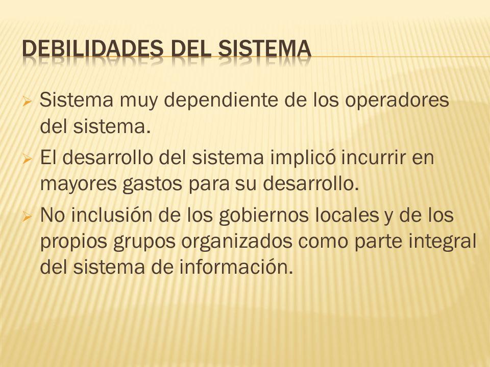 Sistema muy dependiente de los operadores del sistema.