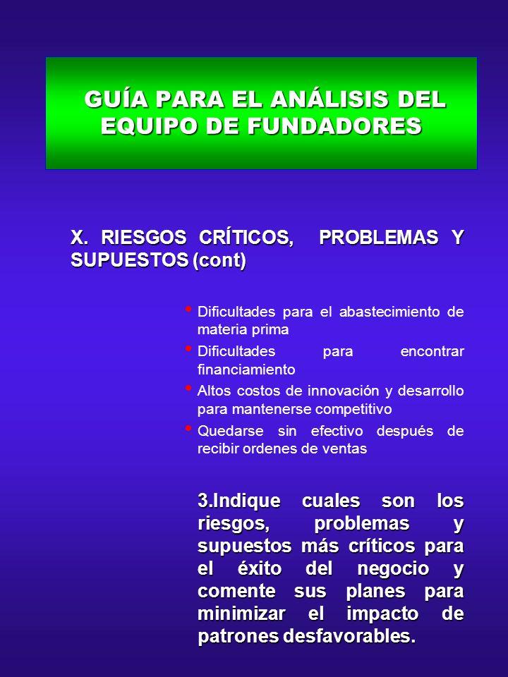 GUÍA PARA EL ANÁLISIS DEL EQUIPO DE FUNDADORES GUÍA PARA EL ANÁLISIS DEL EQUIPO DE FUNDADORES X. RIESGOS CRÍTICOS, PROBLEMAS Y SUPUESTOS (cont) X. RIE