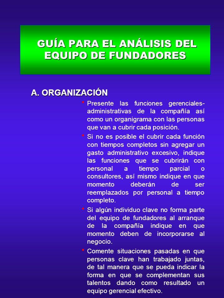 GUÍA PARA EL ANÁLISIS DEL EQUIPO DE FUNDADORES GUÍA PARA EL ANÁLISIS DEL EQUIPO DE FUNDADORES A. ORGANIZACIÓN A. ORGANIZACIÓN Presente las funciones g