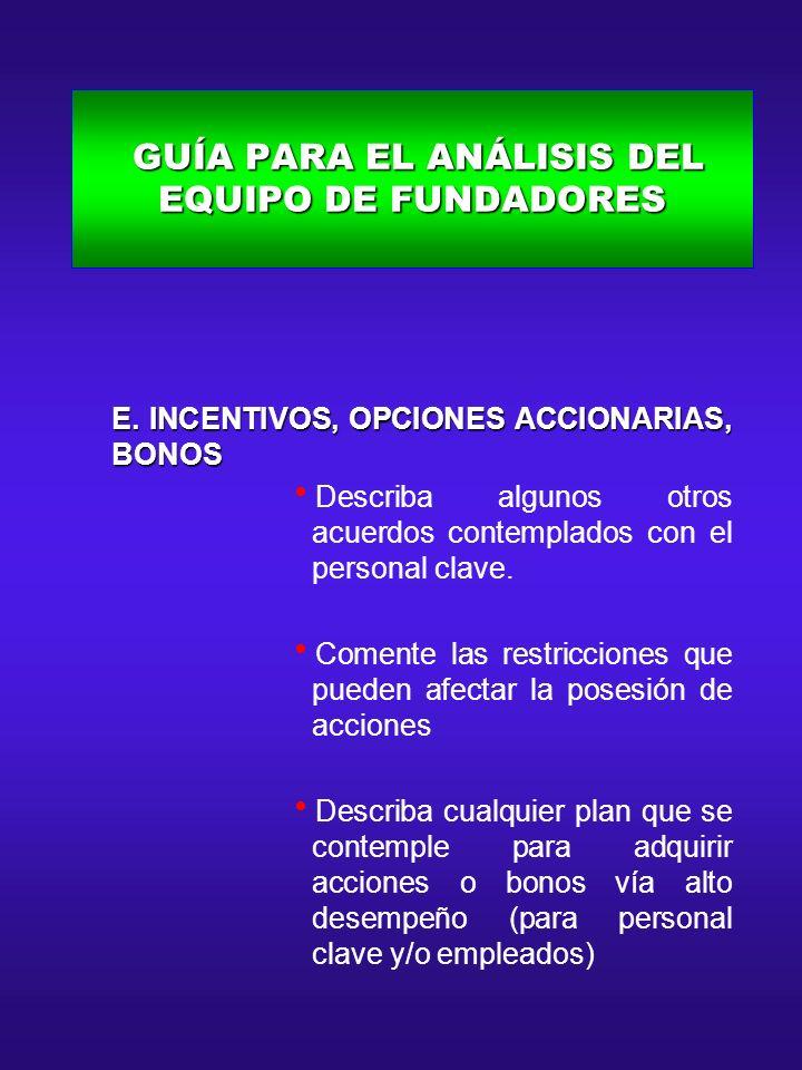 GUÍA PARA EL ANÁLISIS DEL EQUIPO DE FUNDADORES GUÍA PARA EL ANÁLISIS DEL EQUIPO DE FUNDADORES E. INCENTIVOS, OPCIONES ACCIONARIAS, BONOS E. INCENTIVOS