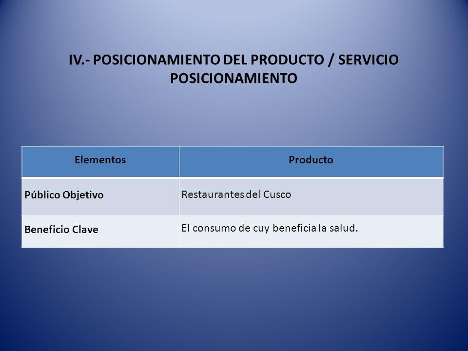 IV.- POSICIONAMIENTO DEL PRODUCTO / SERVICIO POSICIONAMIENTO ElementosProducto Público Objetivo Restaurantes del Cusco Beneficio Clave El consumo de c